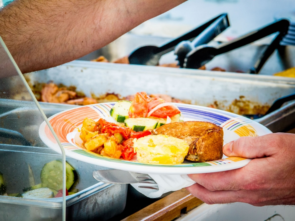 Chef prepared brunch, snacks or dinner are provided on all of our cruises