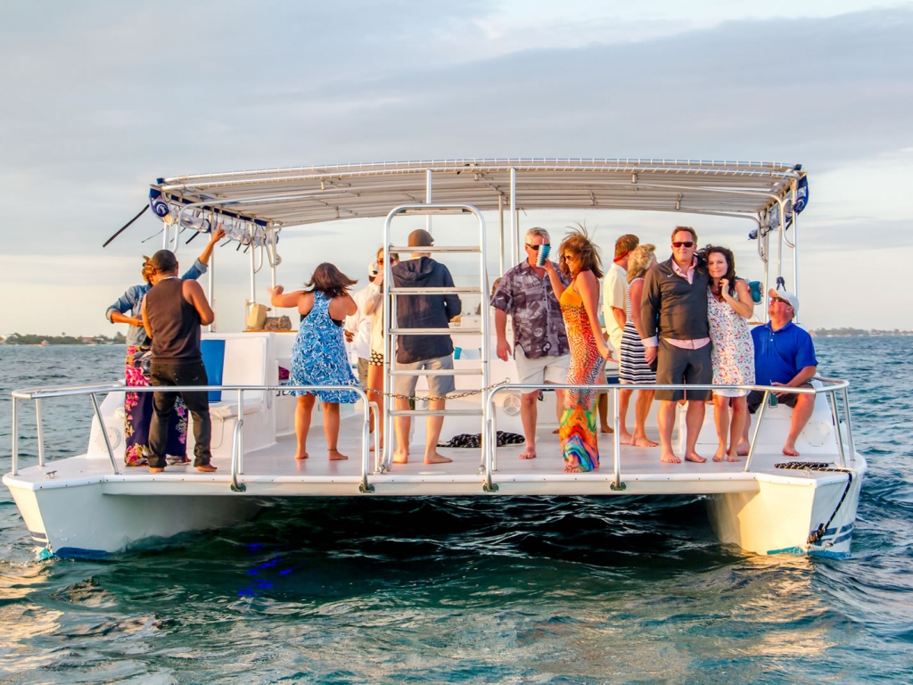 YOLO's single level flat deck surface allows all our guests to freely walk and mingle around the entire vessel